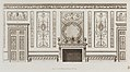 "Interior design of wall with door, fireplace, panels and benches (in ""Designs for Various Ornaments,"" pl. 52) MET DP104572.jpg"
