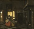 Interior with a Mother close to a Cradle (Pieter de Hooch) - Nationalmuseum - 17476.tif