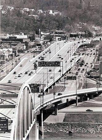 Roads in Charleston, West Virginia - The Interstate 64 viaduct in downtown Charleston, West Virginia.