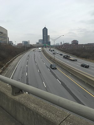 Interstate 70 in Ohio - View of I-70 looking east from a pedestrian bridge in Columbus