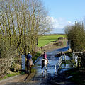 Into the ford at Trescott, Staffordshire (geograph 4371131).jpg