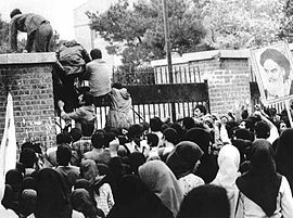 Iran hostage crisis - Iraninan students comes up U.S. embassy in Tehran.jpg