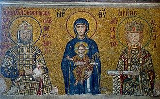 John Komnenos Vatatzes - Emperor John II Komnenos and his wife Eirene, grandparents of John Komnenos Vatatzes, flanking the Virgin and Child