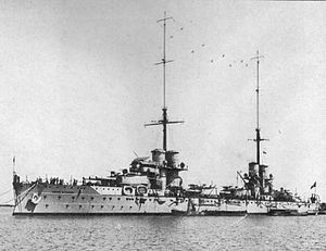 Battle of Durazzo (1918) - Image: Italian battleship Dante Alighieri port view