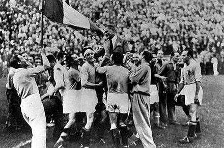The squad celebrating its first FIFA World Cup in 1934. Italy celebrating 1934.jpg