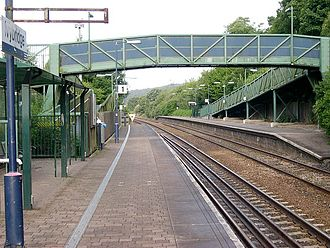 Ivybridge - Facing west towards Plymouth at Ivybridge railway station.
