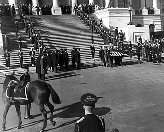 "State funeral of John F. Kennedy - The riderless (caparisoned) horse named ""Black Jack"" during a departure ceremony held on the center steps at the United States Capitol Building."