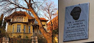 Jacob L. Moreno - Moreno's ancestral home in Pleven, Bulgaria, and a close-up view of the commemorative plaque