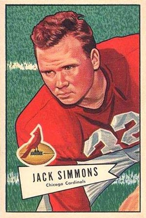 Jack Simmons (American football) - Simmons on a 1952 Bowman football card