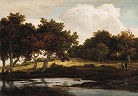 Jacob van Ruisdael - A wooded Landscape with Travellers on a Track by a Pool.jpg