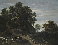 Jacob van Ruisdael - Hilly Wooded Landscape with a Falconer and a Horseman.jpg