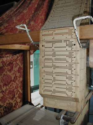 Punched card - Close-up of the 8 × 26 hole punched cards on a Jacquard loom