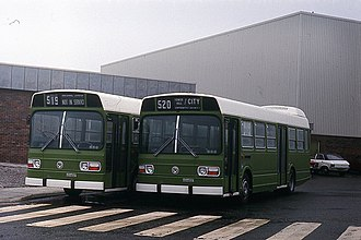 Jamaica Omnibus Service - JOS Leyland National (N) buses in the UK awaiting shipment to Kingston.