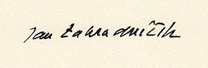 Jan Zahradníček - Jan Zahradníček's signature