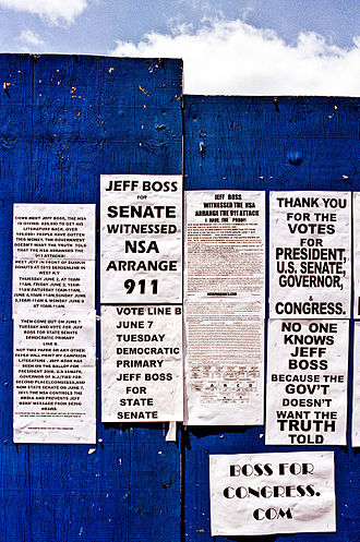 Jeff Boss - Jeff Boss campaign literature, posted on a wall on 9th Avenue in Manhattan.