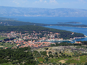 Jelsa, Croatia - View of Jelsa from the south, from the Tor