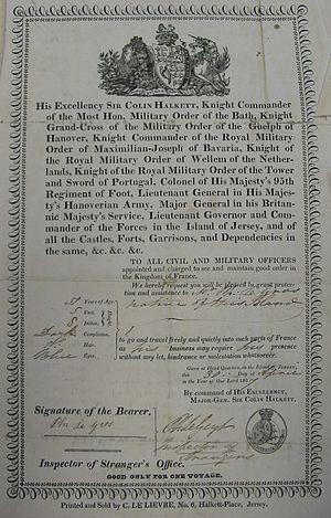 Colin Halkett - This passport issued in 1827 lists Halkett's titles
