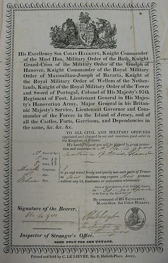 Colin Halkett - This passport issued in 1827 lists Halkett's titles