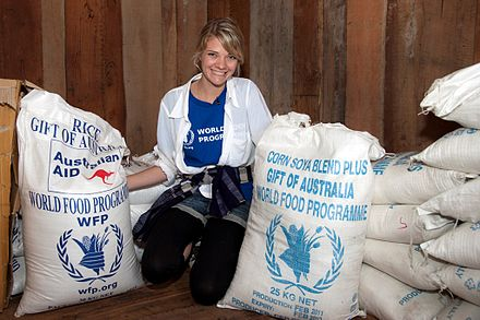 Watson in Laos as part of a program with the World Food Program (2011). Since her appointment in 2011, she acts as a WFP Youth Ambassador. Jessica in Laos 3 (10705783846).jpg