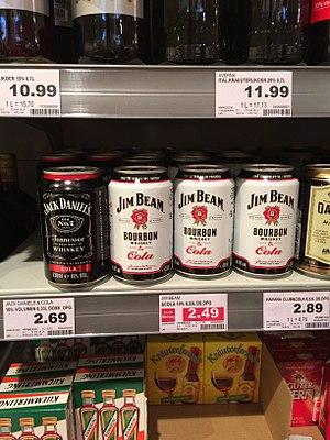 Jim Beam - Jim Beam bourbon and cola on display at a German market.