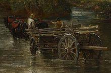 An oil painting of a large steerable cart being drawn by two strong horses through a river.