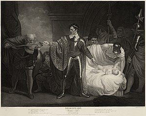 A man stands at the center of the engraving, dressed in armor. His sword is outstretched to his right and an elderly man is kissing it. At his right, a baby is lying in a bed, surrounded by soldiers.