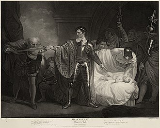 The Winter's Tale - Act II, scene 3: Antigonus swears his loyalty to Leontes, in an attempt to save Leontes' young daughter's life. From a painting by John Opie commissioned by the Boydell Shakespeare Gallery for printing and display.