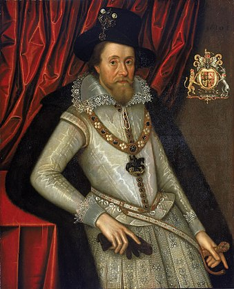 James I of England and VI of Scotland John de Critz the Elder James I of England with a Red Curtain.jpg