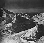 Johns Hopkins Glacier, tidewater glacier, hanging glaciers and icefall, September 12, 1973 (GLACIERS 5504).jpg