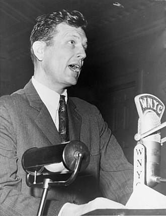 John Lindsay - Congressman Lindsay speaking at the New York City Board of Estimate meeting at City Hall in April 1963