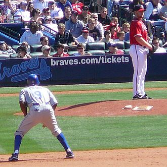 Juan Pierre - Pierre leading off second as Braves reliever Blaine Boyer checks the runner in April 2008.
