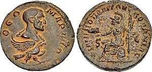 Julius Marinus - Coin of Philip the Arab. Obverse shows Julius Marinus.