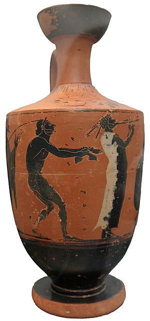 Halteres (ancient Greece) - Image: Jumper with weights and aulos player Staatliche Antikensammlungen 1892