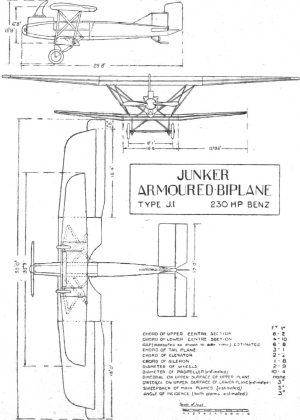 Junkers J.I - Contemporary three-view drawing of Junkers J.I
