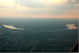 Porz - Aerial photograph of Porz, looking west across the Rhine