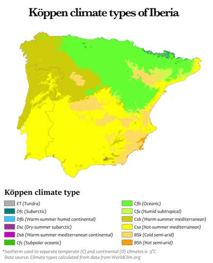 Koppen climate types of Iberia Koppen climate types of Iberia.png