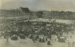 1869 in Denmark - 5 June: inauguration of the equestrian statue of Frederick VII on the central square in Køge