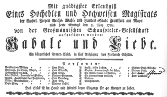 Intrigue and Love - Playbill for the second performance on 3 May 1784 in Frankfurt am Main, with August Wilhelm Iffland in the role of the valet.