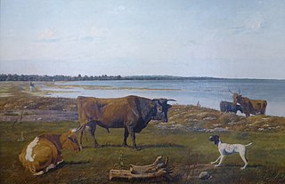 Beach picture with cattle