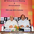 Kapil Sibal and the Minister of State for Railways, Shri Adhir Ranjan Chowdhury, at the 85th Annual General Meeting of Indian Chamber of Commerce, at Kolkata on July 26, 2013.jpg
