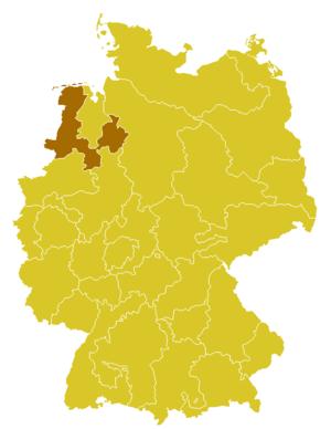 Roman Catholic Diocese of Osnabrück - Image: Karte Bistum Osnabrück