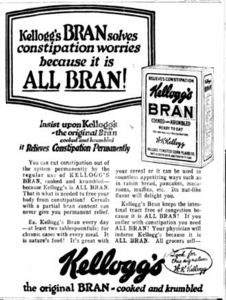 "All-Bran - 1922 newspaper ad for ""Kellogg's Bran"", precursor to All-Bran"