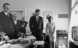 Arthur M. Schlesinger Jr. - Schlesinger watching flight of Mercury-Redstone 3 with President Kennedy, Vice President Johnson, Jackie Kennedy, and Admiral Arleigh Burke in the White House Office of the President's Secretary, May 5, 1961