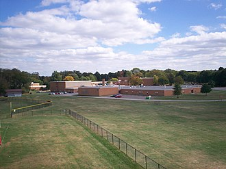 Theodore Roosevelt High School (Kent, Ohio) - Roosevelt High School looking southeast with baseball field visible on left and practice fields in foreground