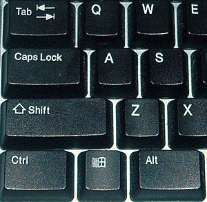 Tab key - Tab key on a standard keyboard (on upper left)