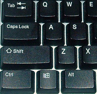 "Shift key - The shift key on a modern English Windows keyboard (above the ""Ctrl"" key)"
