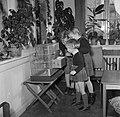 Kinderen bekijken de vogelkooi in de woonkamer, Bestanddeelnr 252-8754.jpg