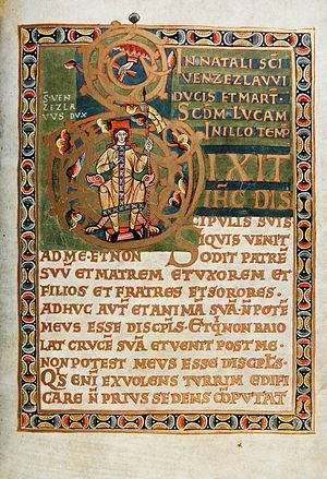 Codex Vyssegradensis - St. Wenceslaus in the initial. The new Bohemian monarchy uses the crowning haloed Hand of God in the Coronation Gospels of Vratislav II