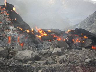 Coal seam fire - Fire at the surface, Xinjiang, 2002