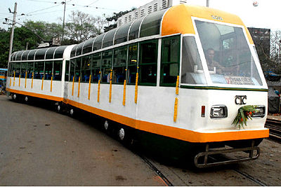 The Kolkata tram system is the oldest operating electric tram system in Asia Kolkata transport.jpg